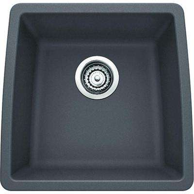 Performa Undermount Granite Composite 18 in. Single Bowl Bar Sink in Cinder
