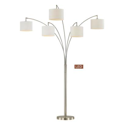 Lucianna 83 in. Silvertone Nickel Steel LED Floor Lamp with Dimmer