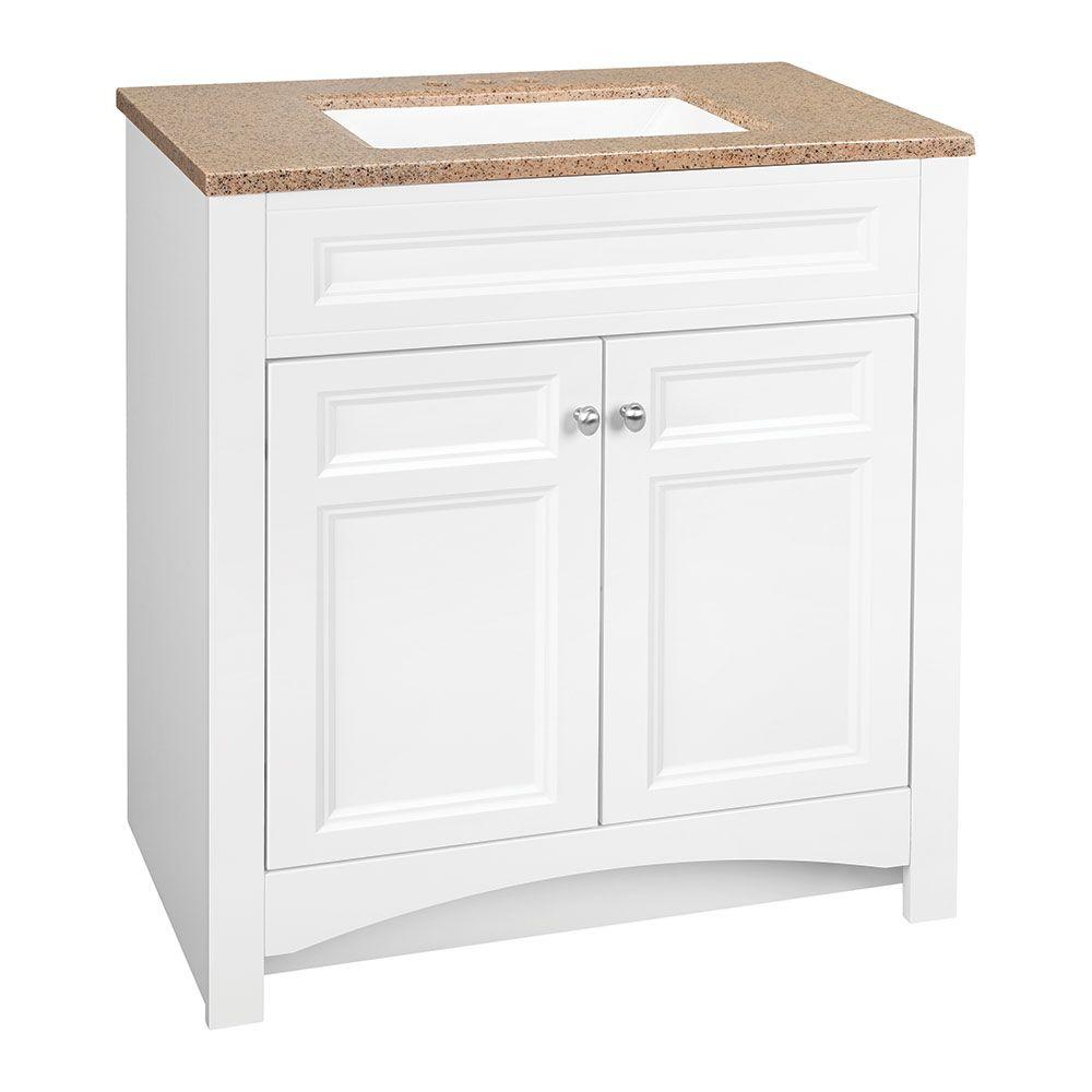 Glacier bay modular 30 5 in w bath vanity in white with solid surface technology vanity top in - Custom solid surface bathroom vanity tops ...