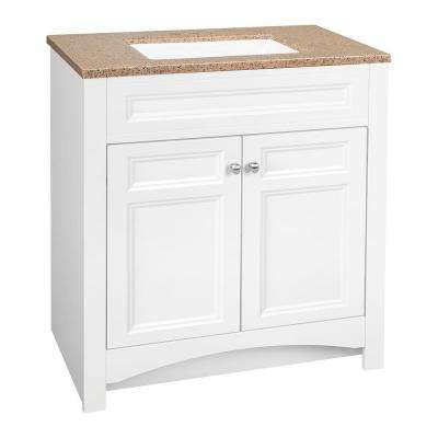Modular 30.5 in. W Bathroom Vanity in White with Solid Surface Technology Vanity Top in Cappuccino with White Basin