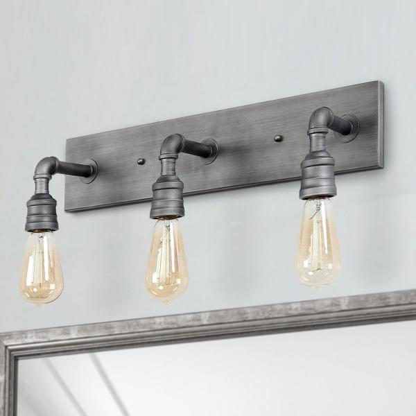 Lnc Wayner 3 Light Grey Gilded Iron Modern Industrial Bathroom Vanity Light Water Pipe Wall Sconce A03379 The Home Depot