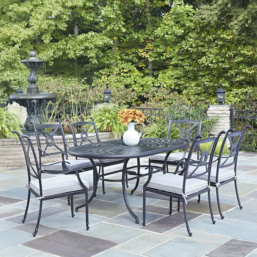Home Styles Athens Charcoal 7 Piece All Weather Cast Aluminum Patio Dining Set With