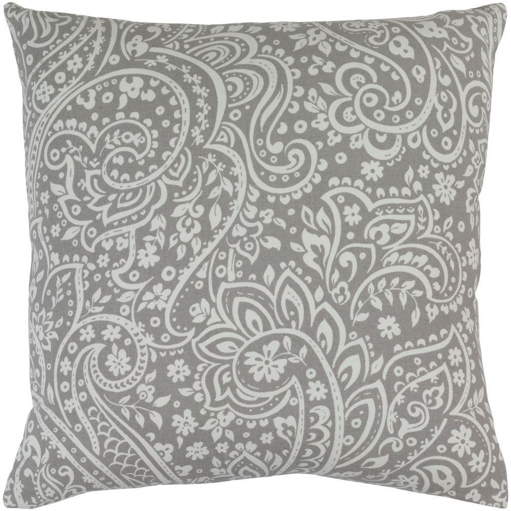 Solomon Gray Paisley 18 in. x 18 in. Decorative Pillow