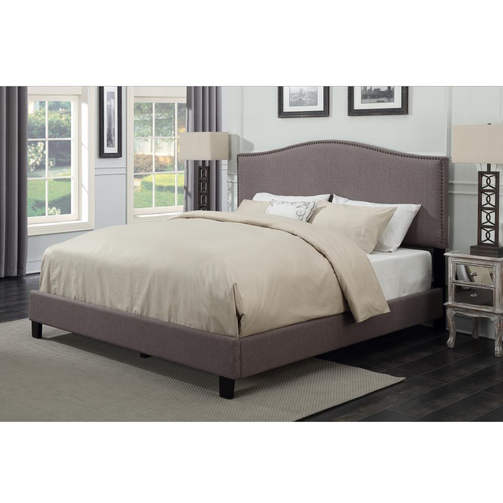 American Woodcrafters Barron Taupe King Upholstered Bed