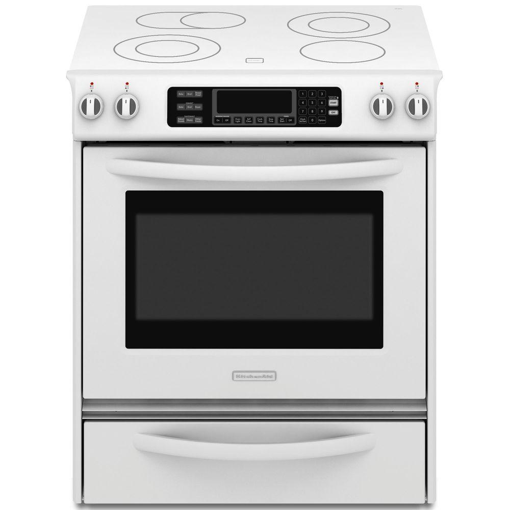 KitchenAid Architect Series II 4.1 cu. ft. Slide-In Electric Range with Self-Cleaning Convection Oven in White