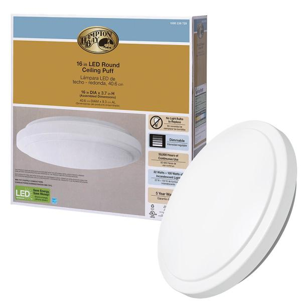 16 in. Bright White Round LED Flush Mount Ceiling Light Fixture 1640 Lumens 4000K 22-Watt Dimmable ENERGY STAR Rated