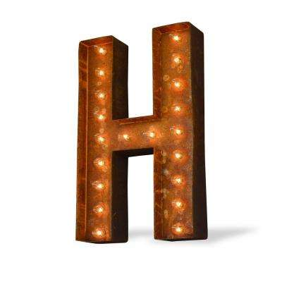 Modern American 24 in. High Rusted Steel Alphabet Letter H Plug-In Marquee Lights