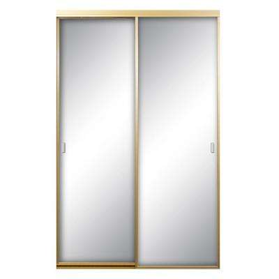 Asprey 84 in. x 81 in. Mirror Satin Gold Aluminum Interior Sliding Door