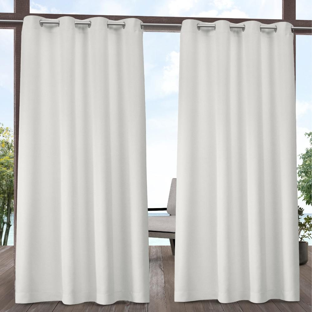 Exclusive Home Curtains Indoor Outdoor Solid 54 in. W x 96 in. L Grommet Top Curtain Panel in Vanilla (2 Panels)