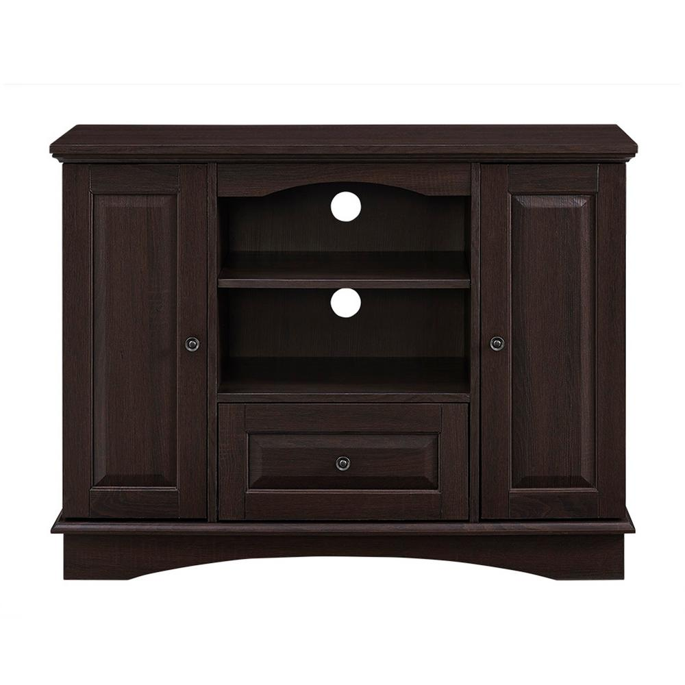 42 in. Espresso Highboy Wood TV Media Stand Storage Console