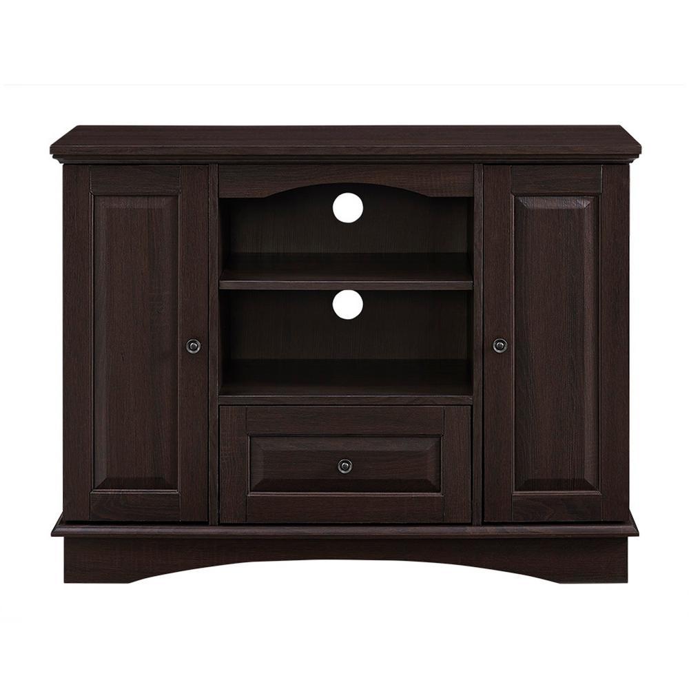 Walker Edison Furniture Company 42 in. Espresso Highboy Wood TV Media