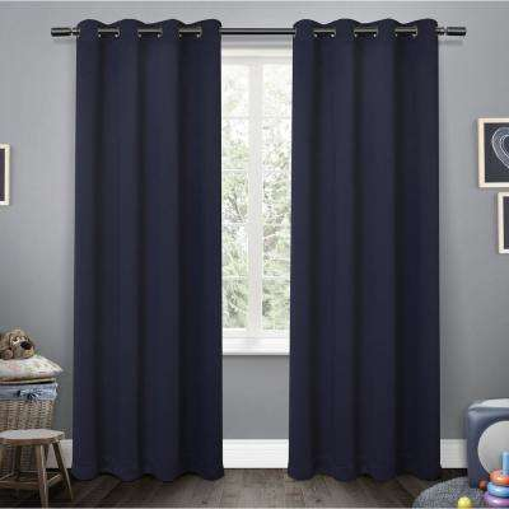 Sateen Kids 52 in. W x 63 in. L Woven Blackout Grommet Top Curtain Panel in Navy (2 Panels)