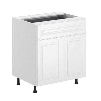 Birmingham Ready to Assemble 30 x 34.5 x 24.5 in. Base Cabinet in White Melamine and Door in White