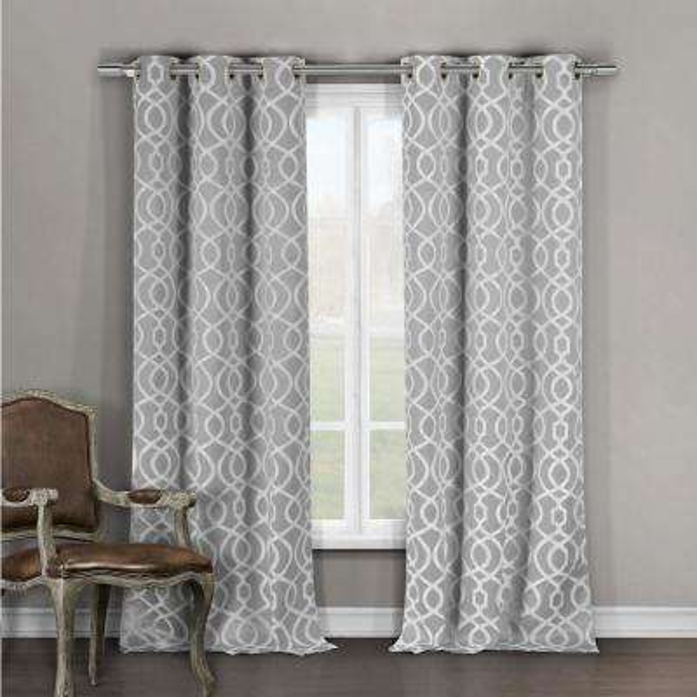Geometric Grey Polyester Blackout Grommet Window Curtain 36 in. W x 96 in. L (2-Pack)