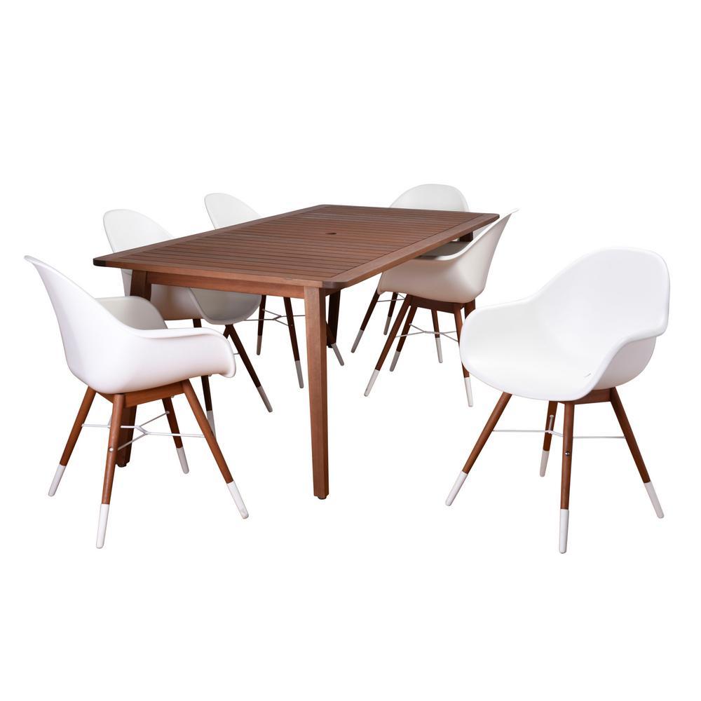 Carilo 7-Piece Eucalyptus Rectangular Patio Dining Set