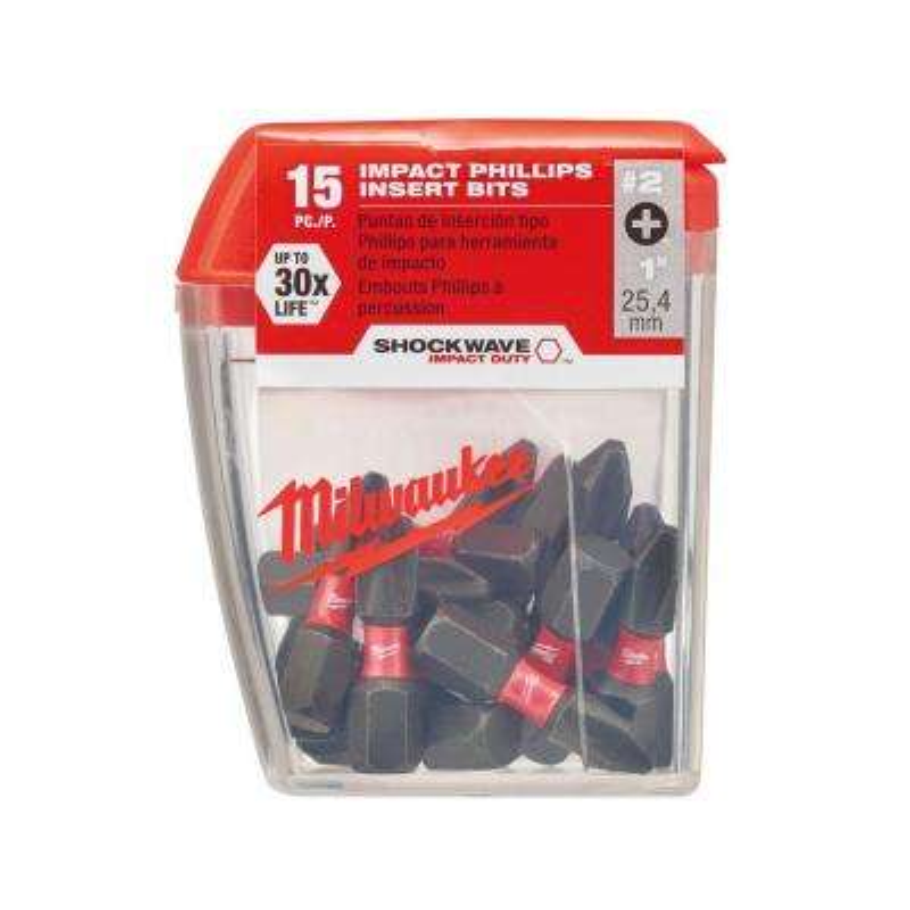 #2 Philips Shockwave 1 in. Impact Duty Steel Insert Bits (15-Pack)