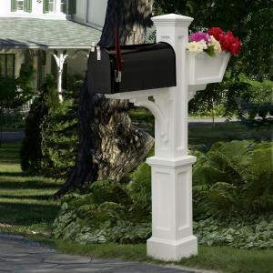 Mayne Westbrook Plus Plastic Mailbox Post White 580a00000