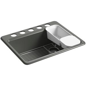 riverby undermount cast iron 27 in 5hole single bowl kitchen sink kit in