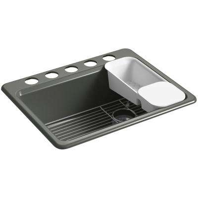 Riverby Undermount Cast Iron 27 in. 5-Hole Single Bowl Kitchen Sink Kit in Thunder Grey