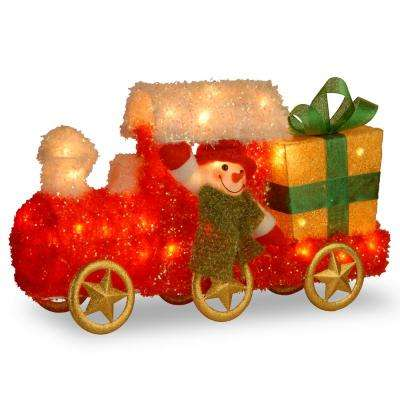 Pre-Lit 23 in. Tinsel Train with Gift