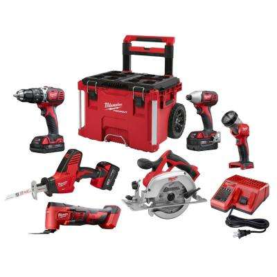 M18 18-Volt Lithium-Ion Cordless Combo Kit (6-Tool) W/ 3-Batteries, Charger and PACKOUT Rolling Tool Box