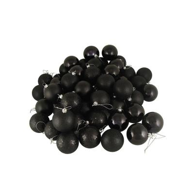 1.5 in. (40 mm) Jet Black 4-Finish Shatterproof Christmas Ball Ornaments (96-Count)
