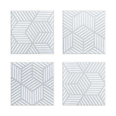 Tapiz 6 in. x 6 in. Grey and White Ceramic Decorative Wall Tile (4-Pack)