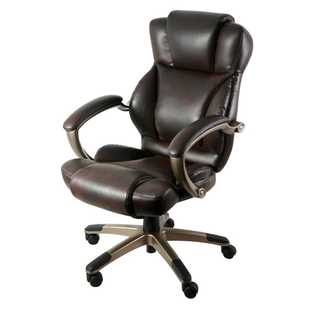 z line designs brown leather executive office chair zl5010 01ecu the home depot. Black Bedroom Furniture Sets. Home Design Ideas