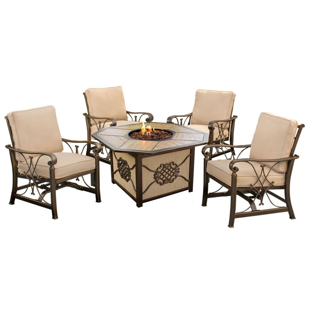 Anistello 5-Piece Aluminum Patio Fire Pit Conversation Set with Beige Cushions