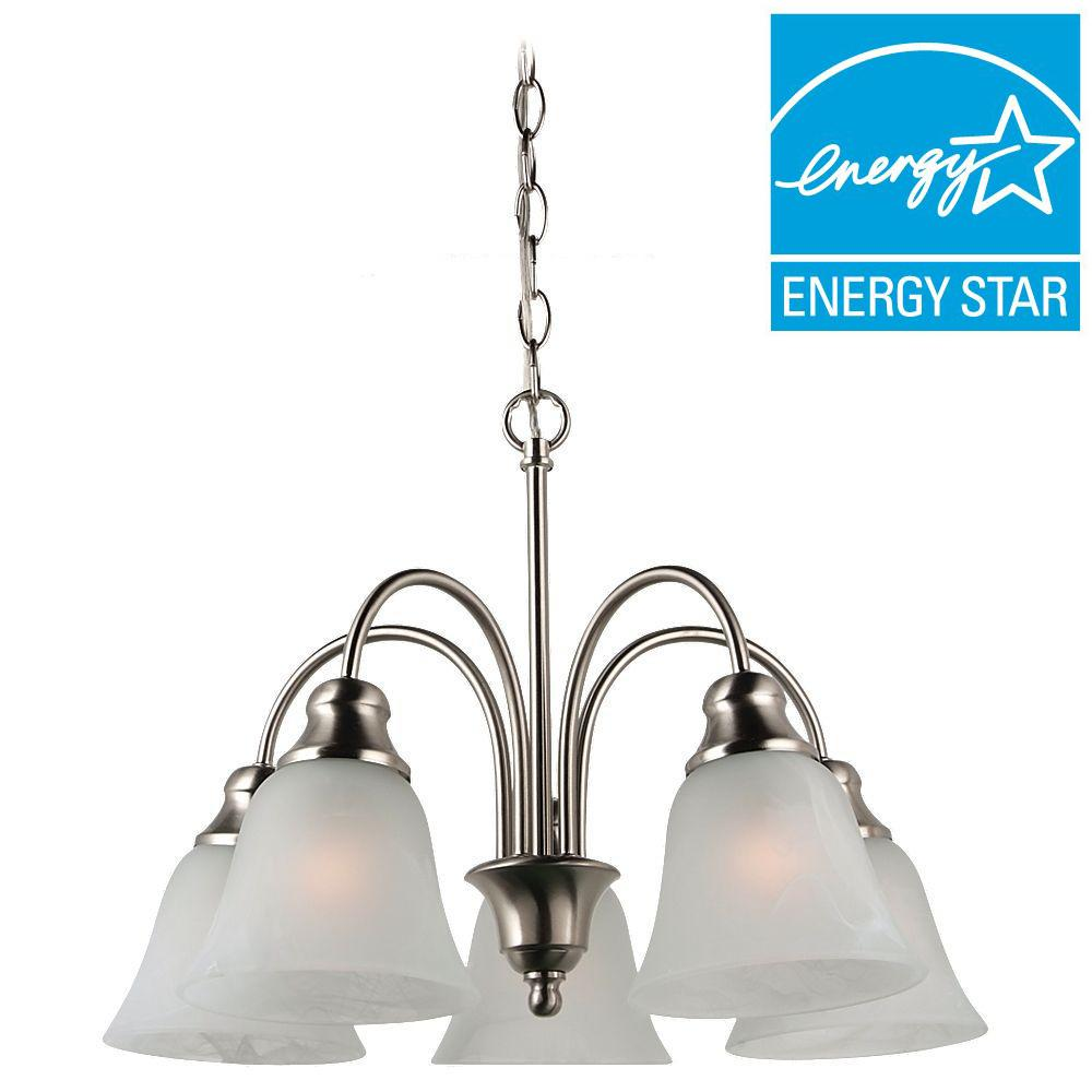 Sea Gull Lighting Windgate 5-Light Brushed Nickel 1-Tier Chandelier
