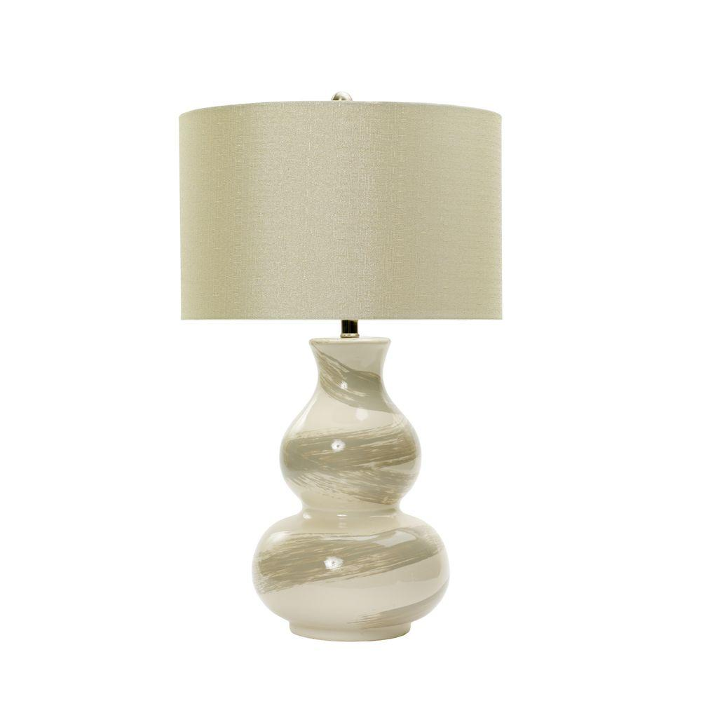 28 In White Swirl Ceramic Table Lamp With Transparent Grey