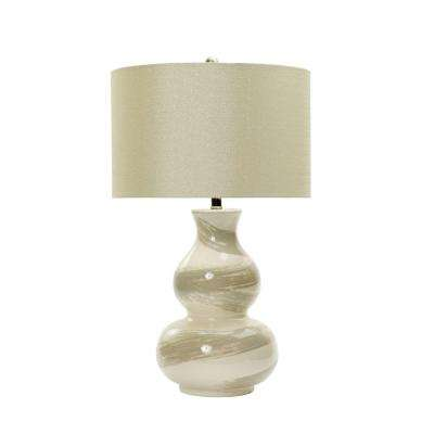 28 in. White Swirl Ceramic Table Lamp with Transparent Grey Brushstrokes