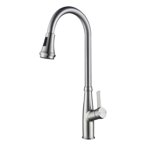 Wellfor Single Hole Single Handle Pull Down Sprayer Kitchen Faucet With Supply Line In Brushed Nickel Wb Fa044bn The Home Depot
