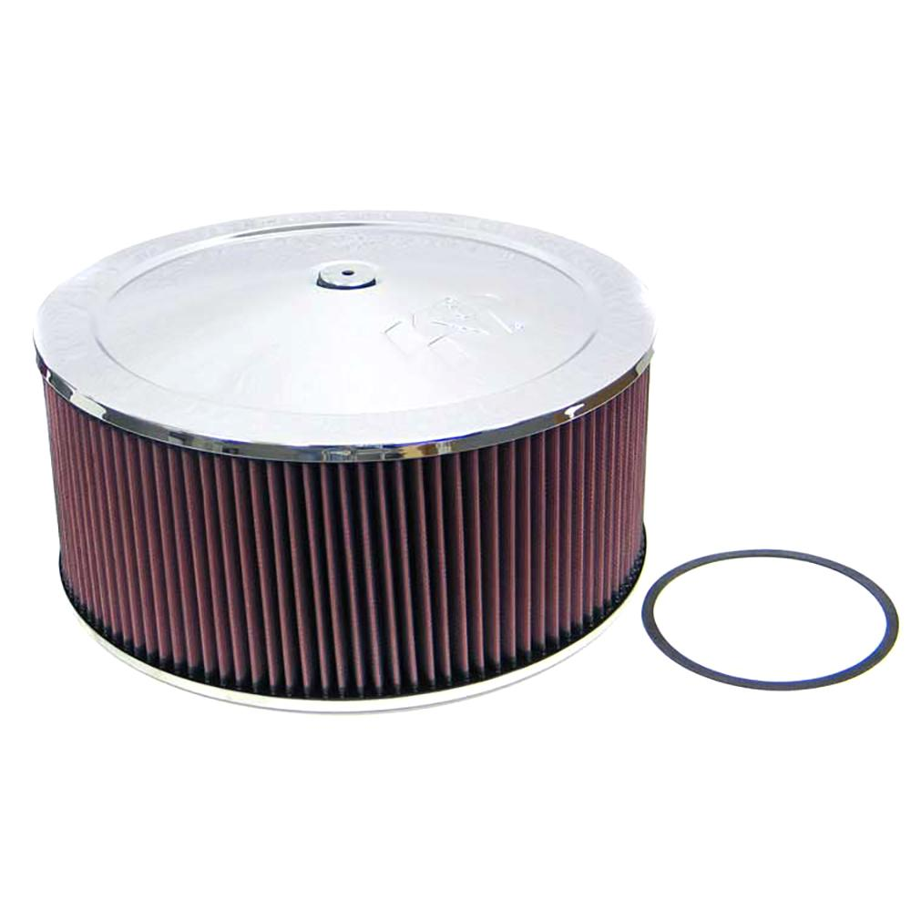 K&N Round - Red - Size 14in - 5.125in Neck Flange Custom Air Cleaner Assembly K&N's custom air cleaner assemblies are designed with the racer in mind. They incorporate good looks as well as the superior air flow that you expect from K&N. These custom air cleaner assemblies are designed for use with any engine that uses a round element air cleaner housing.