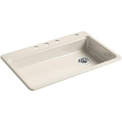Riverby Drop-In Cast Iron 33 in. 4-Hole Single Bowl Kitchen Sink in Cane Sugar