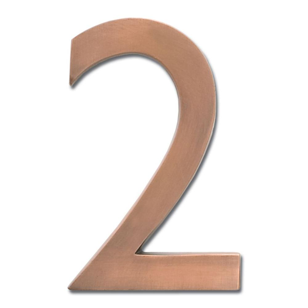 5 in. Antique Copper Floating House Number 2