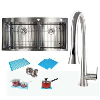 Topmount Drop-In Stainless Steel 42-7/8 in. x 21-1/2 in. x 10 in. 60/40 Offset Double Bowl Kitchen Sink and Faucet Combo