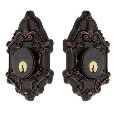 Victorian Plate 2-3/8 in. Backset Double Cylinder Deadbolt in Timeless Bronze
