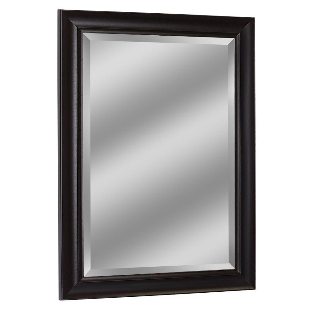 29 in. W x 35 in. H Framed Rectangular Beveled Edge Bathroom Vanity Mirror in Espresso