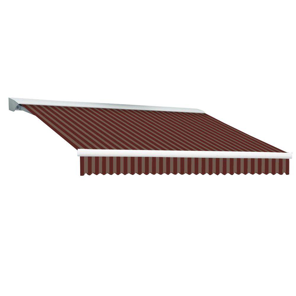 Beauty-Mark 24 ft. DESTIN EX Model Right Motor Retractable with Hood Awning (120 in. Projection) in Burgundy and Tan Stripe
