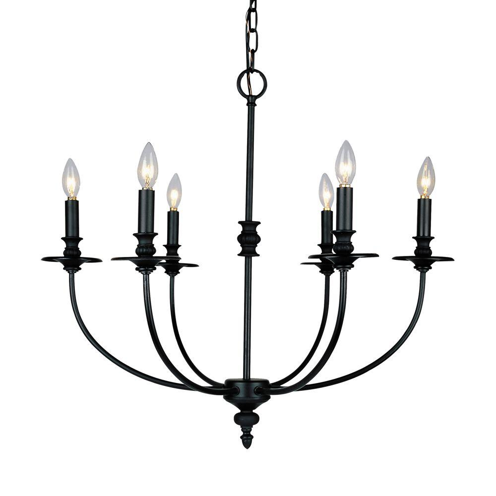 Titan Lighting Hartford 6 Light Oil Rubbed Ceiling Mount Chandelier