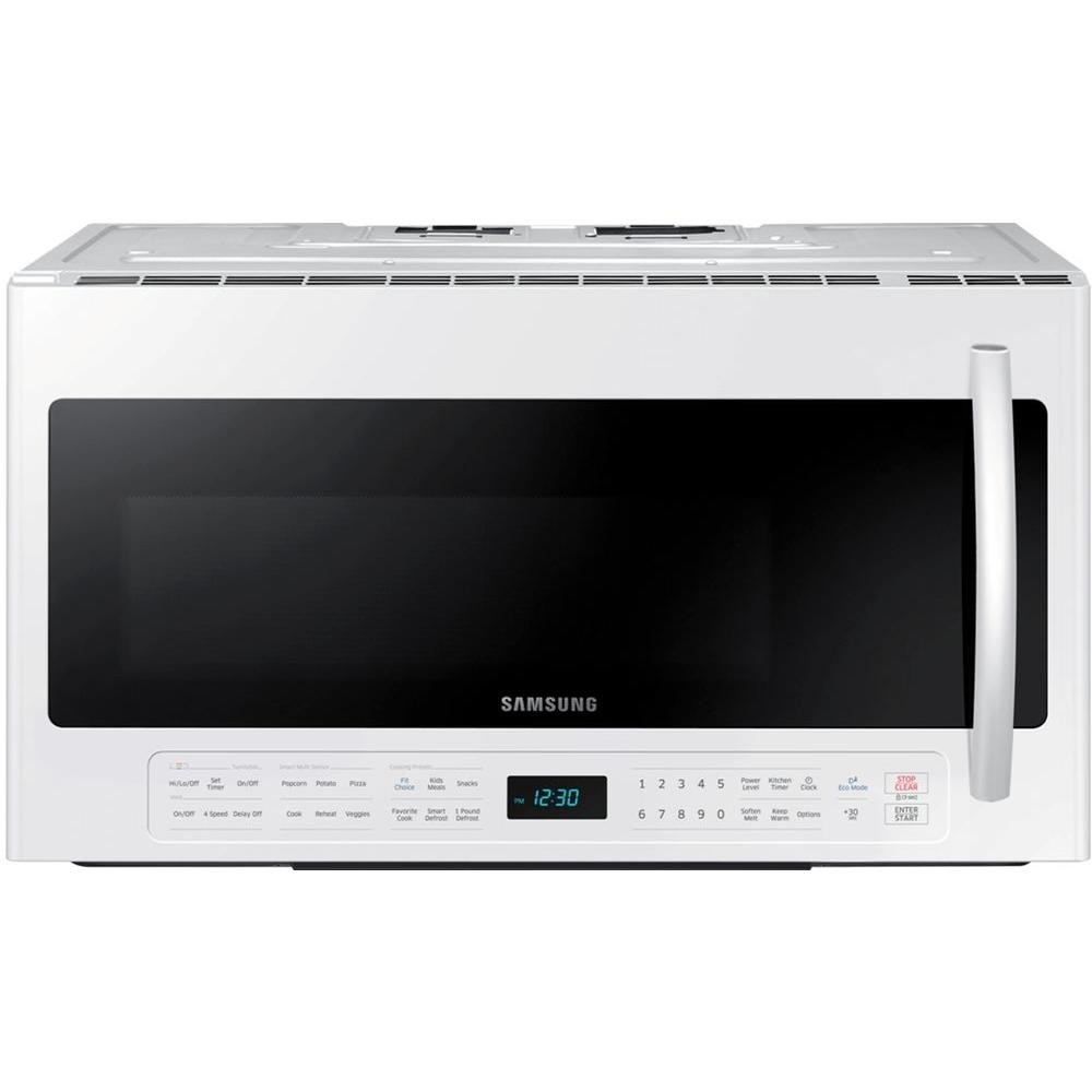 Samsung 30 in. W 2.1 cu. ft. Over the Range Microwave in White with Sensor Cooking and Ceramic Enamel Interior