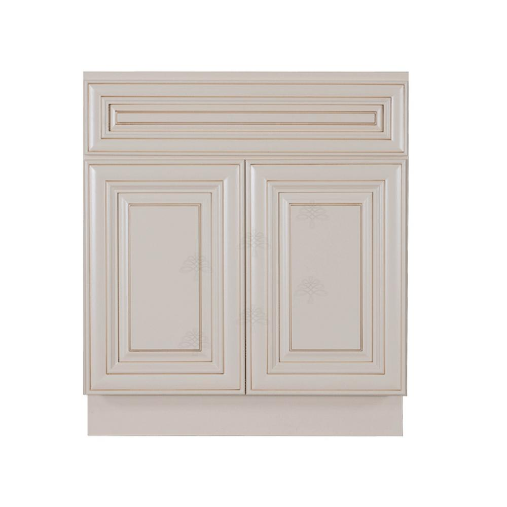 LIFEART CABINETRY Princeton Assembled 30 in  x 34 5 in  x 24 in  Base  Cabinet with 2-Door and 1-Drawer in Creamy White Glazed