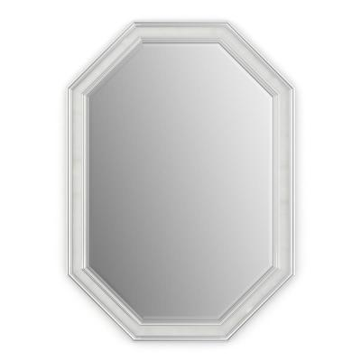 33 in. W x 46 in. H (L3) Framed Octagon Deluxe Glass Bathroom Vanity Mirror in Chrome and Linen