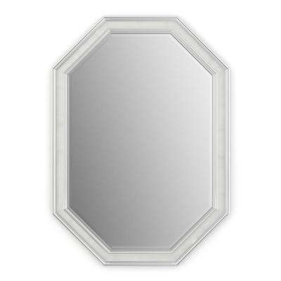33 in. x 46 in. (L3) Octagonal Framed Mirror with Deluxe Glass and Flush Mount Hardware in Chrome and Linen