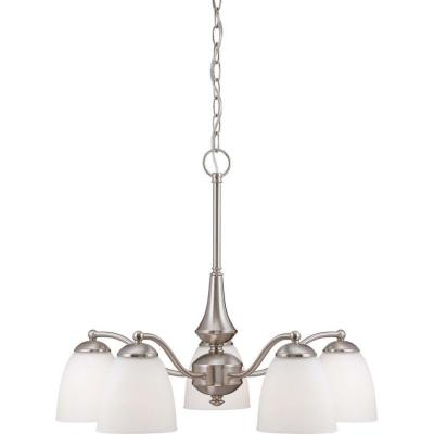5-Light Brushed Nickel Chandelier with Frosted Glass Shade