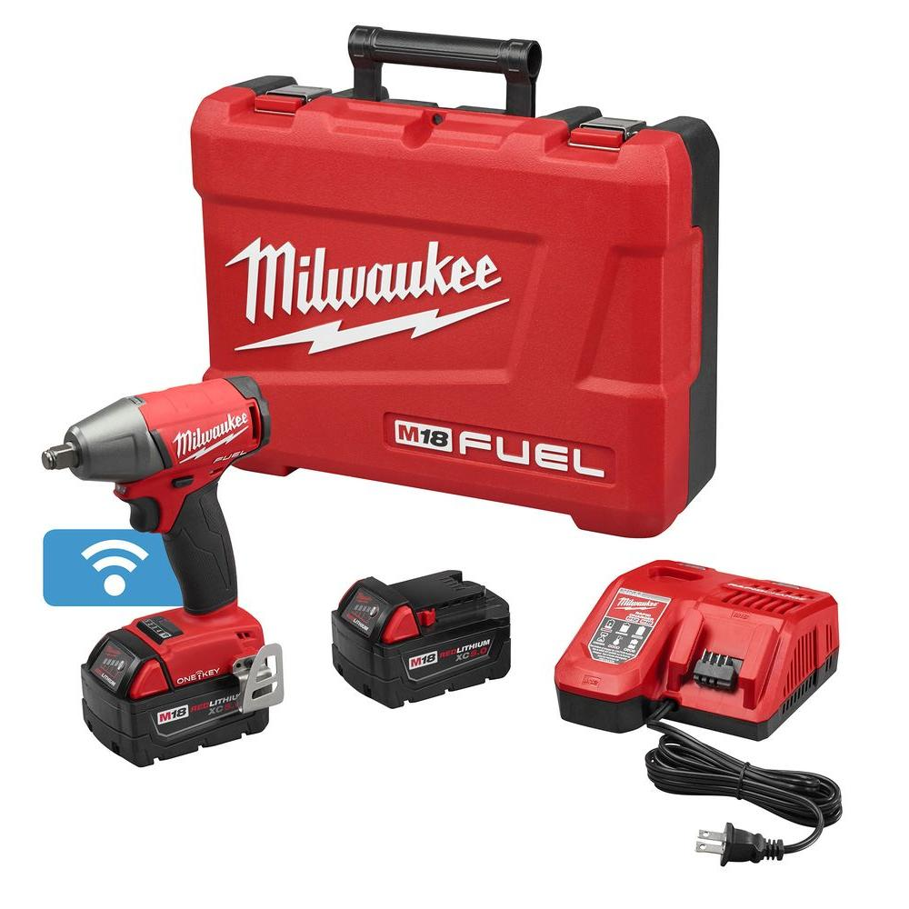 Milwaukee M18 FUEL ONE-KEY 18-Volt Lithium-Ion Brushless Cordless 1/2 in. Impact Wrench w/ Friction Ring Kitw/(2) 5.0Ah Batteries
