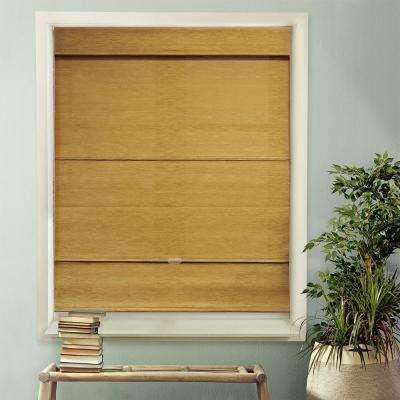 Cordless Magnetic Roman Shade / Window Blind Fabric Curtain Drape, Light Filtering, Privacy - Natural Woven Fabric