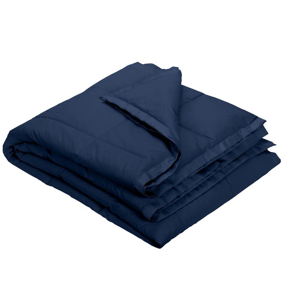 The Company Store LaCrosse LoftAIRE Navy Blue Twin Blanket KO80-T-NAVY-BLUE