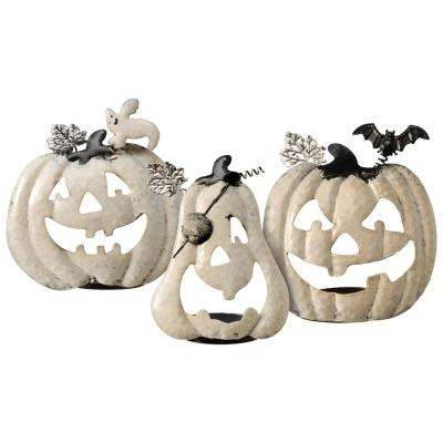 Pumpkin Halloween Decor Candle Holder Assortment (3-Piece)